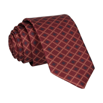 Dark Red Cross Weave Print Tie