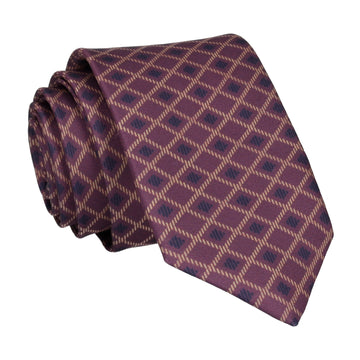 Purple Cross Weave Print Tie
