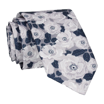 White & Silver Floral Navy Blue Tie