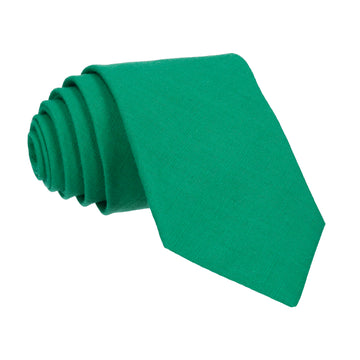 Green Plain Textured Cotton Tie