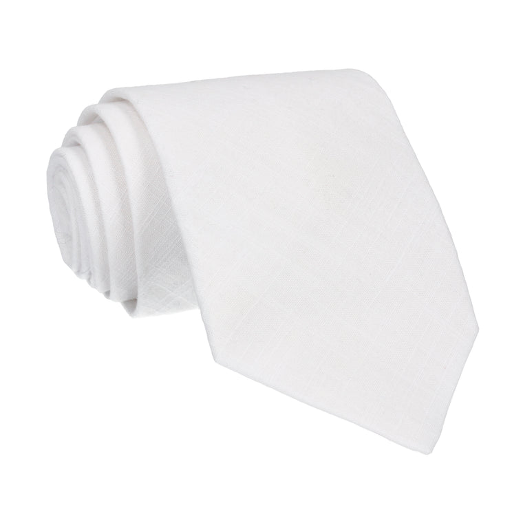 White Plain Textured Cotton Tie