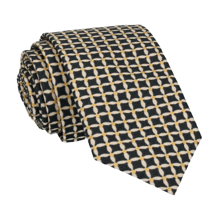 Navy & Gold Cross Check Diamond Tie