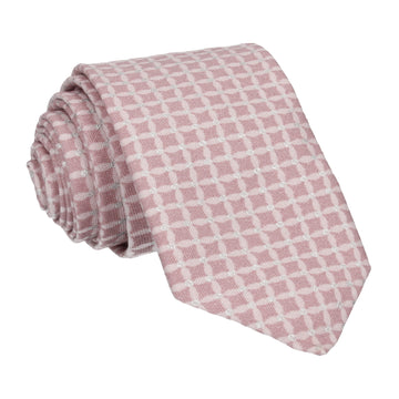Pink & Silver Cross Check Diamond Tie