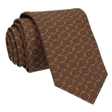 Brown Interlocked Links Cotton Tie