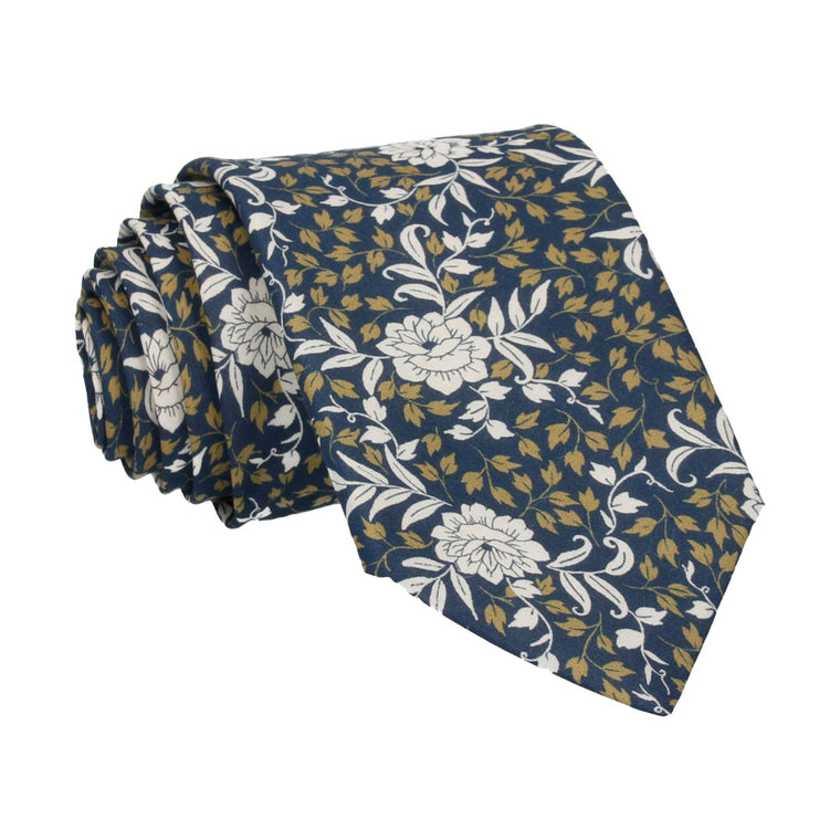 Navy & Gold Floral Franklyn Liberty Cotton Tie