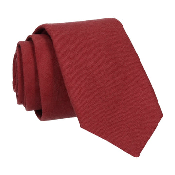 Port Red Brushed Linen Tie