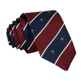 Striped Fleur de Lis Burgundy Red Tie