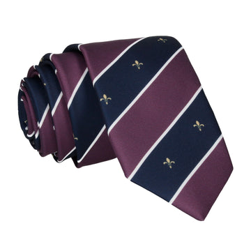 Striped Fleur de Lis Purple Tie