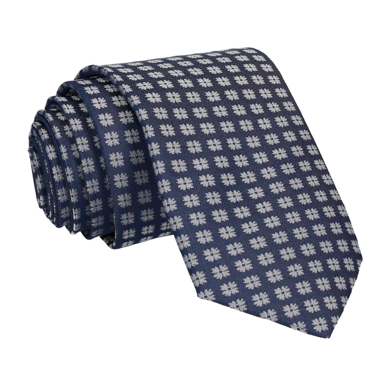 Traditional Pattern Blue Silky Tie