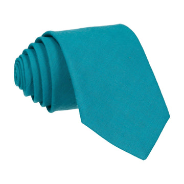 Turquoise Plain Textured Cotton Tie
