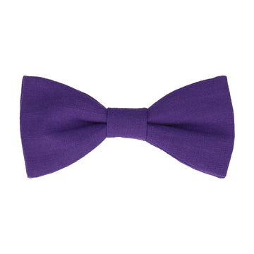 Violet Purple Plain Textured Cotton Bow Tie
