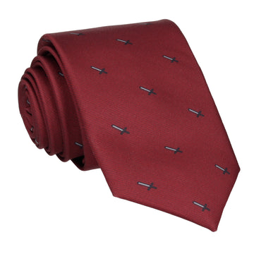 Pixel Sword Burgundy Red Tie