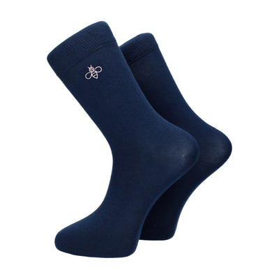 Navy Blue with Pink Logo Cotton Socks