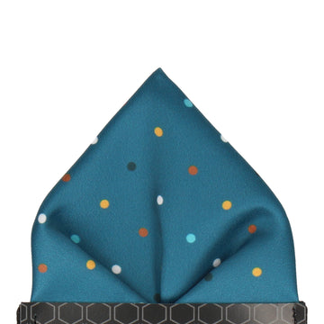 Colour Dots Teal Pocket Square