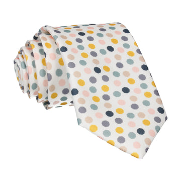 White Contemporary Dots Tie