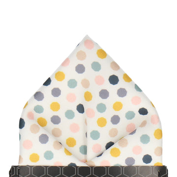 White Contemporary Dots Pocket Square