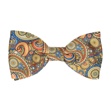 Boho Quirky Paisley Yellow Bow Tie