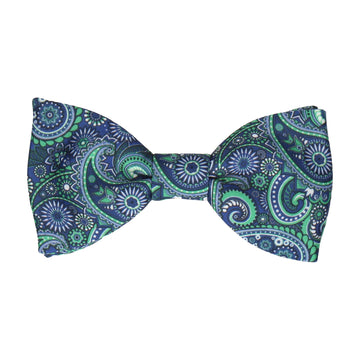 Boho Quirky Paisley Blue Bow Tie