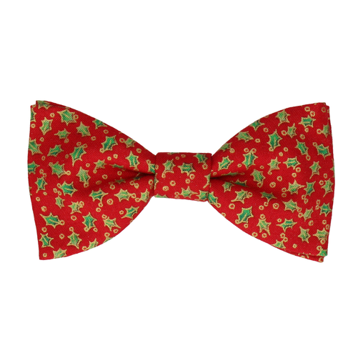 Red Christmas Holly Bow Tie
