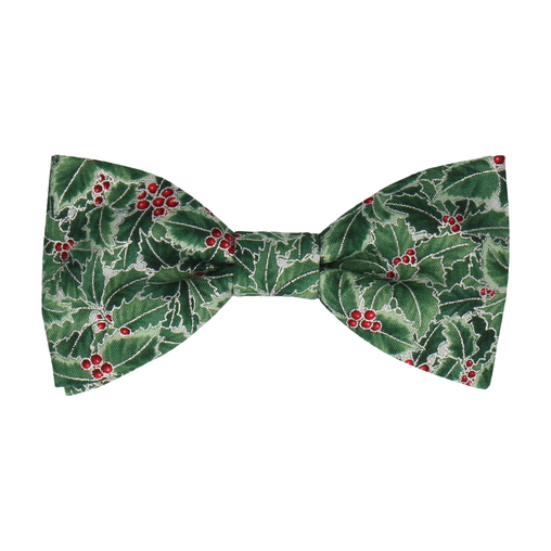 Green Christmas Holly Bow Tie