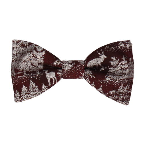 Winter Forest Dark Red Bow Tie