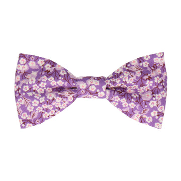 Floral Purple Flower Cotton Bow Tie
