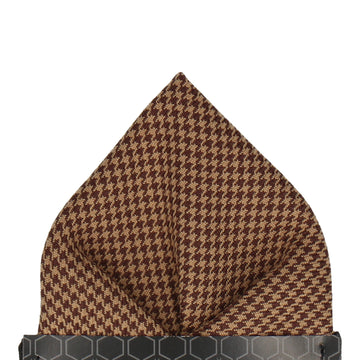 Brown Mini Houndstooth Pocket Square