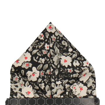 Black Floral Cotton Pocket Square