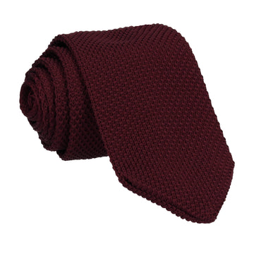 Red Wine Point Knitted Tie