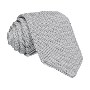 Silver Grey Point Knitted Tie
