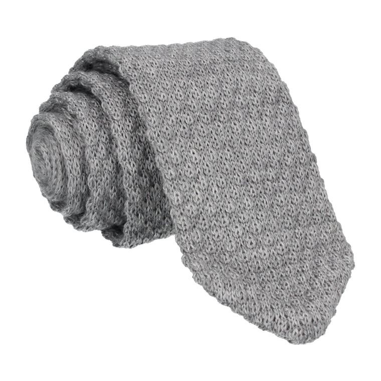 Dove Grey Point Wool Knitted Tie