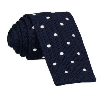 Navy Blue White Spot Knitted Tie