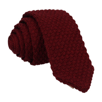 Dark Red Wool Point Knitted Tie