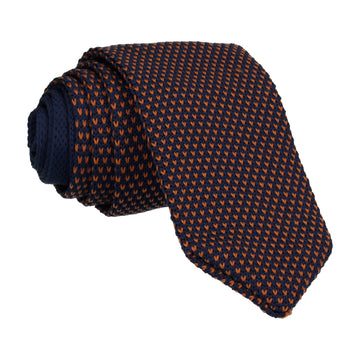 Navy/Orange Spec Point Knitted Tie