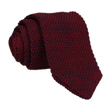 Dark Red Marl Point Knitted Tie