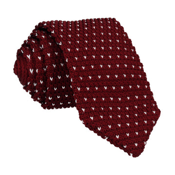 Burgundy White Flec Point Knitted Tie