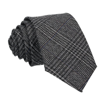 Dark Grey Textured Check Charcoal Tie