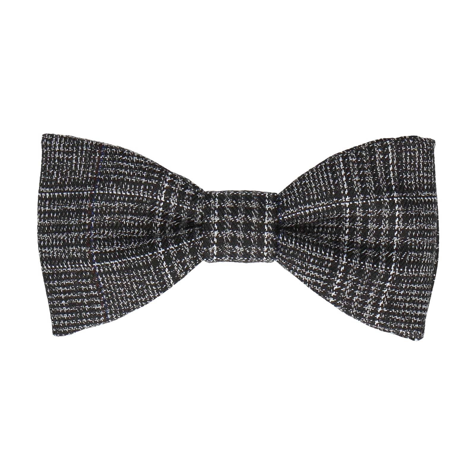 Dark Grey Textured Check Charcoal Bow Tie
