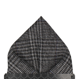 Dark Grey Textured Check Charcoal Pocket Square