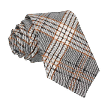 Grey & Gold Modern Check Tartan Tie