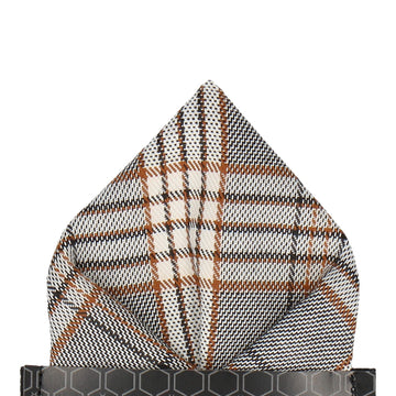 Grey & Gold Modern Check Tartan Pocket Square