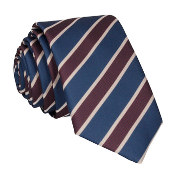 Navy Blue & Burgundy Stripe Tie