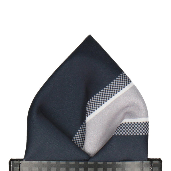 Delta in Silver & Black Pocket Square