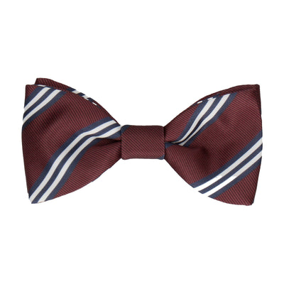Burgundy & Navy Double Stripe Bow Tie