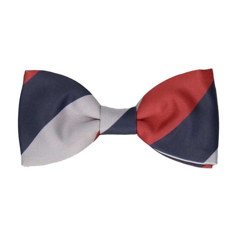Navy Blue, Red & Grey Chunky Thick Stripe Bow Tie