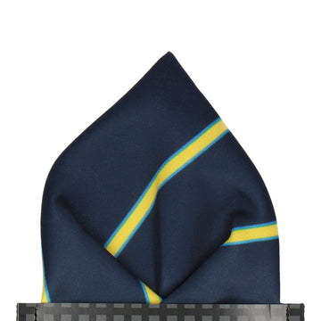 Doxford in Navy & Yellow Pocket Square