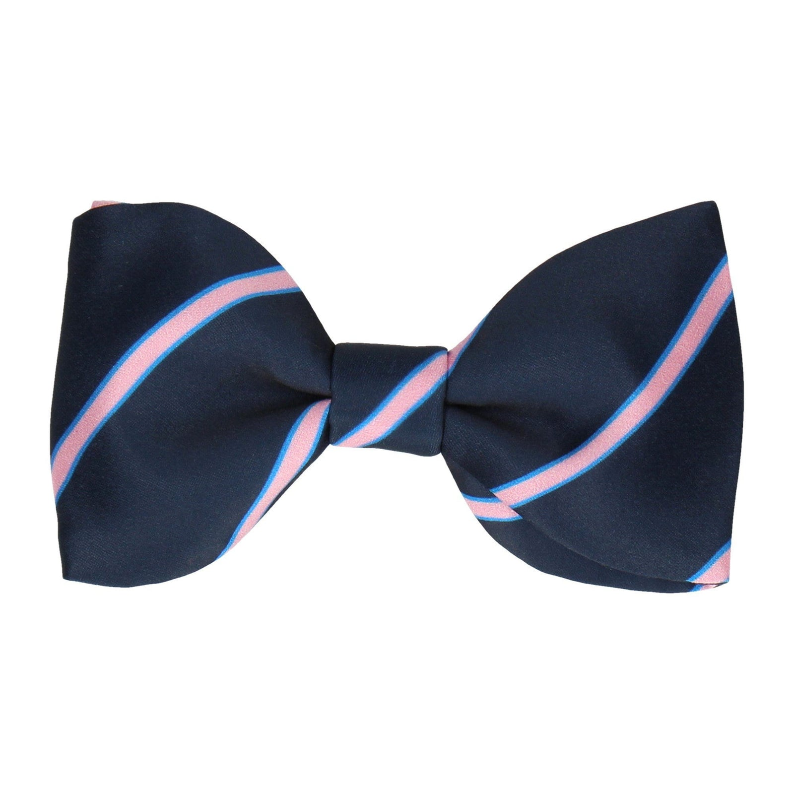 Navy & Pink Regimental Stripe Bow Tie