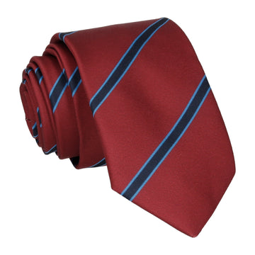 Damson Red & Navy Regimental Stripe Tie