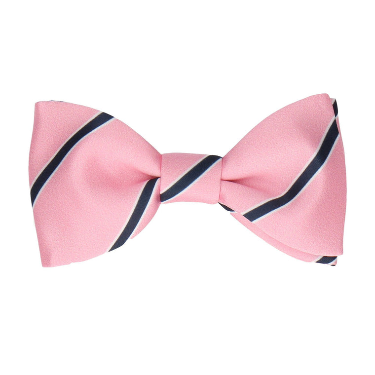 Pink Regimental Stripe Bow Tie