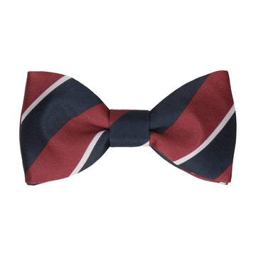 Burgundy & Navy Thick Stripe Bow Tie